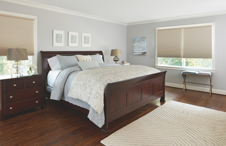 Beige shades in a San Diego bedroom.