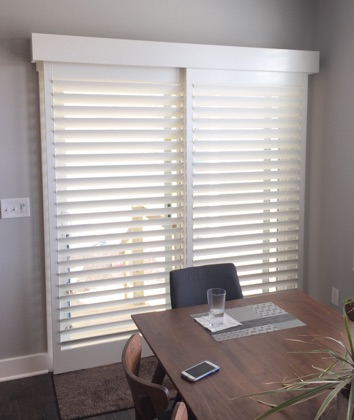 San Diego white sliding door shutters