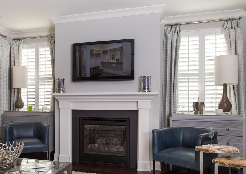 family room San Diego faux wood shutters