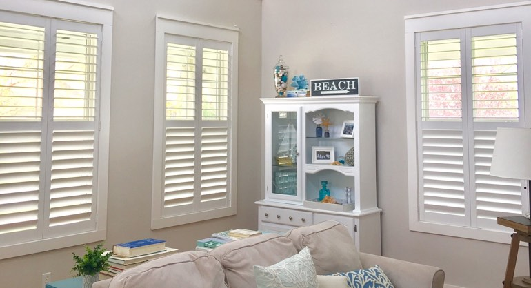 San Diego CA shutters in living room