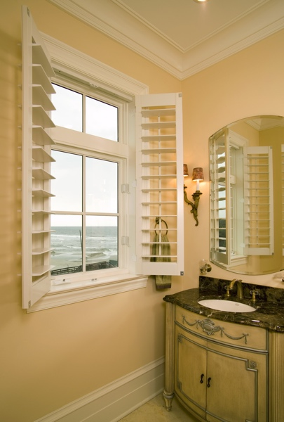 Plantation shutters in San Diego beach home