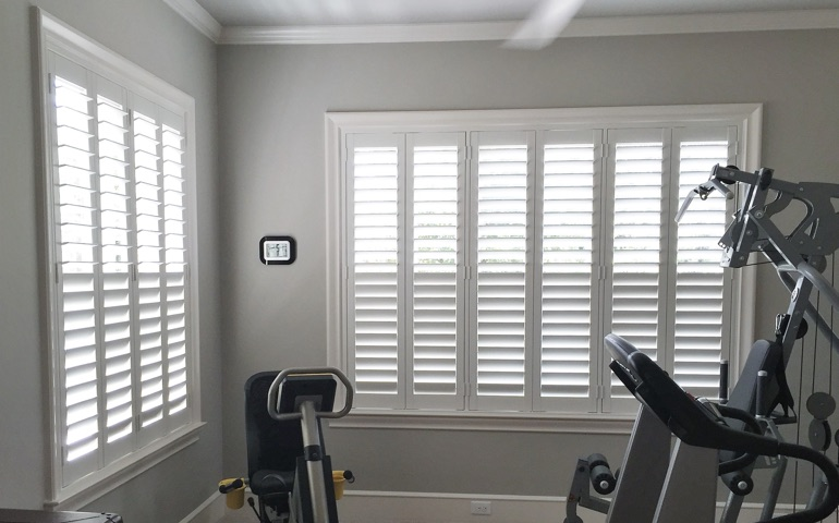 San Diego fitness room with shuttered windows.