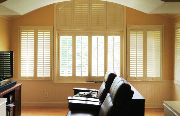 San Diego plantation shutters in entertainment room