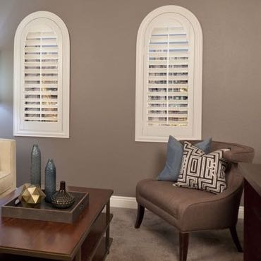 San Diego family room interior shutters.