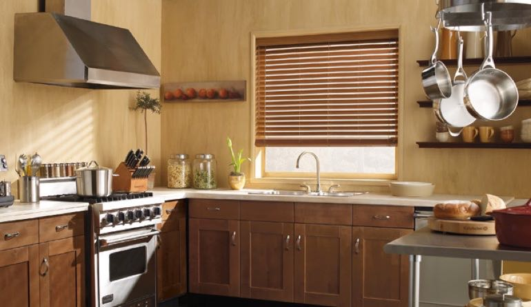 San Diego kitchen faux wood blinds.