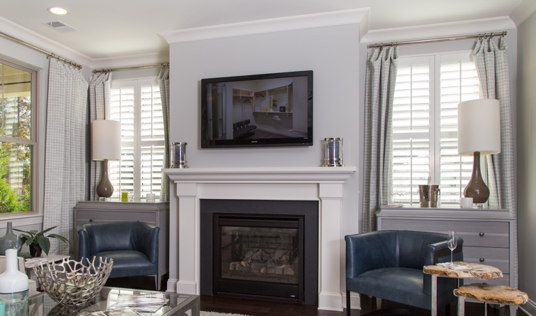 San Diego mantle with white shutters.