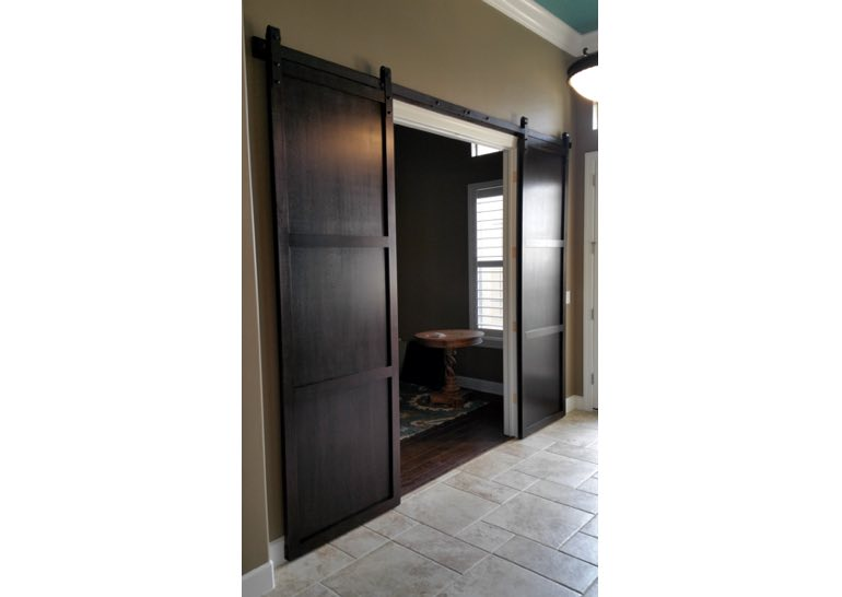Dark brown home office sliding barn door