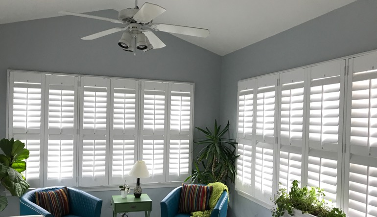 San Diego sunroom with fan and shutters