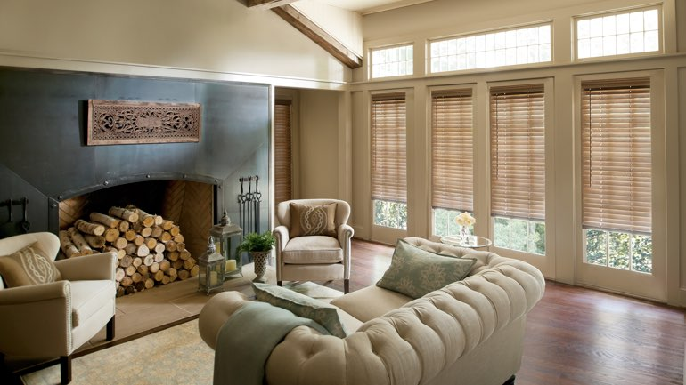 San Diego living room with blinds