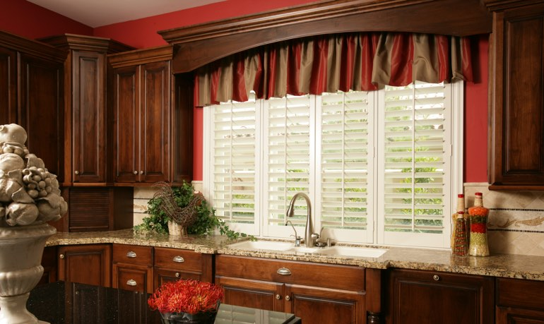 San Diego kitchen shutter and cornice valance