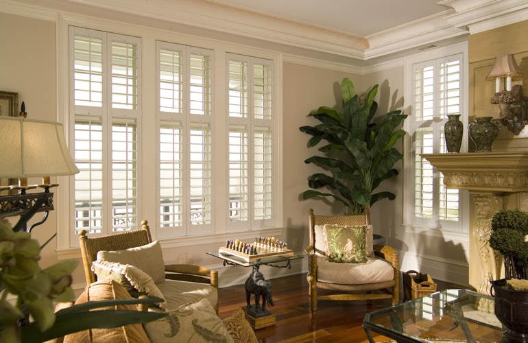 living room in san diego with interior plantation shutters