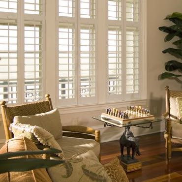 San Diego living room plantation shutters.