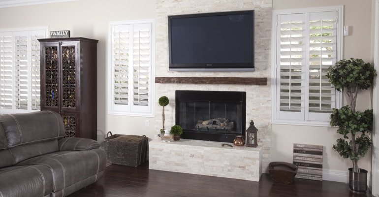 white shutters in San Diego living room