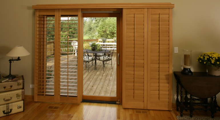 San Diego wood shutter sliding door
