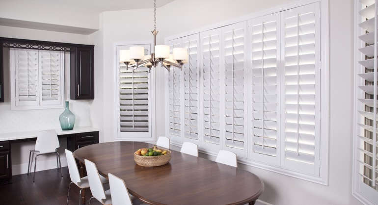 plantation shutters in San Diego dining room