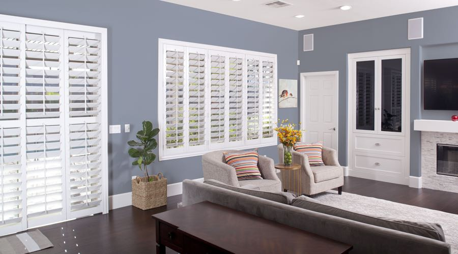 Faux Wood Shutters In blue San Diego Living Room