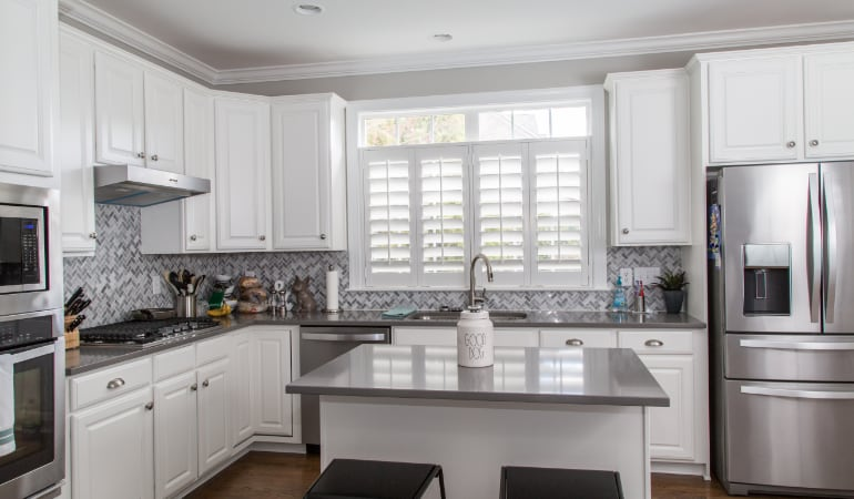 Polywood shutters in a San Diego gourmet kitchen.
