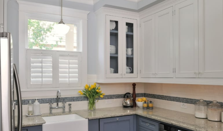 Polywood shutters in a San Diego kitchen.