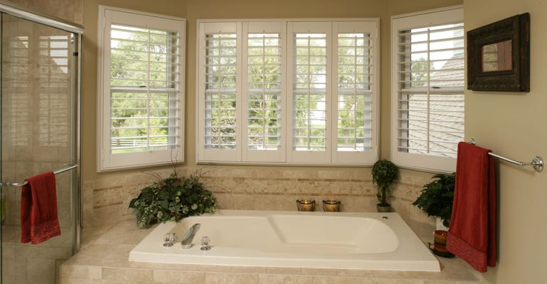 Plantation shutters in San Diego bathroom.