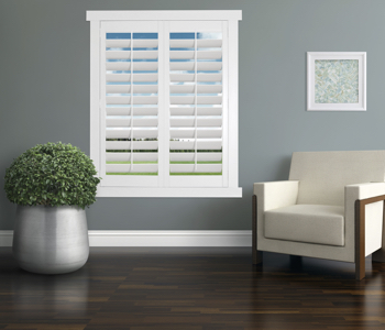 Polywood Shutters in San Diego living room
