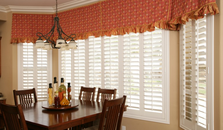 White shutters in San Diego dining room.