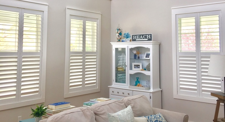 faux wood shutters in San Diego great room