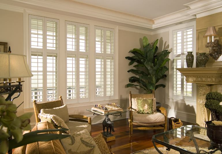 Living room interior with hardwood floors and plantation shutters.