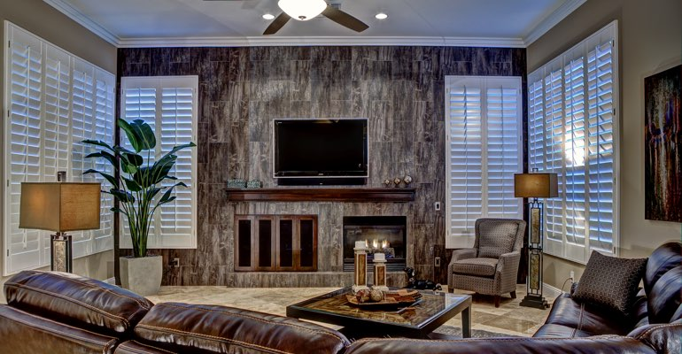 San Diego living room with shutters
