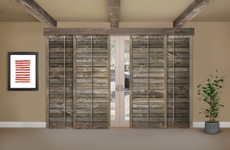 Reclaimed wood shutters for sale sunburst shutters san diego ca reclaimed wood shutters on a sliding glass door in san diego planetlyrics Choice Image