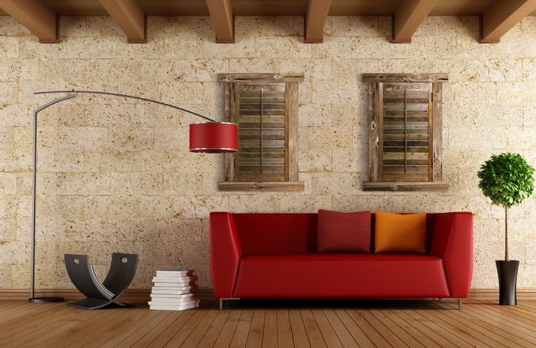 Reclaimed Wood Shutters In A San Diego Living Room.