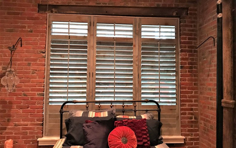 reclaimed wood shutters in San Diego bedroom