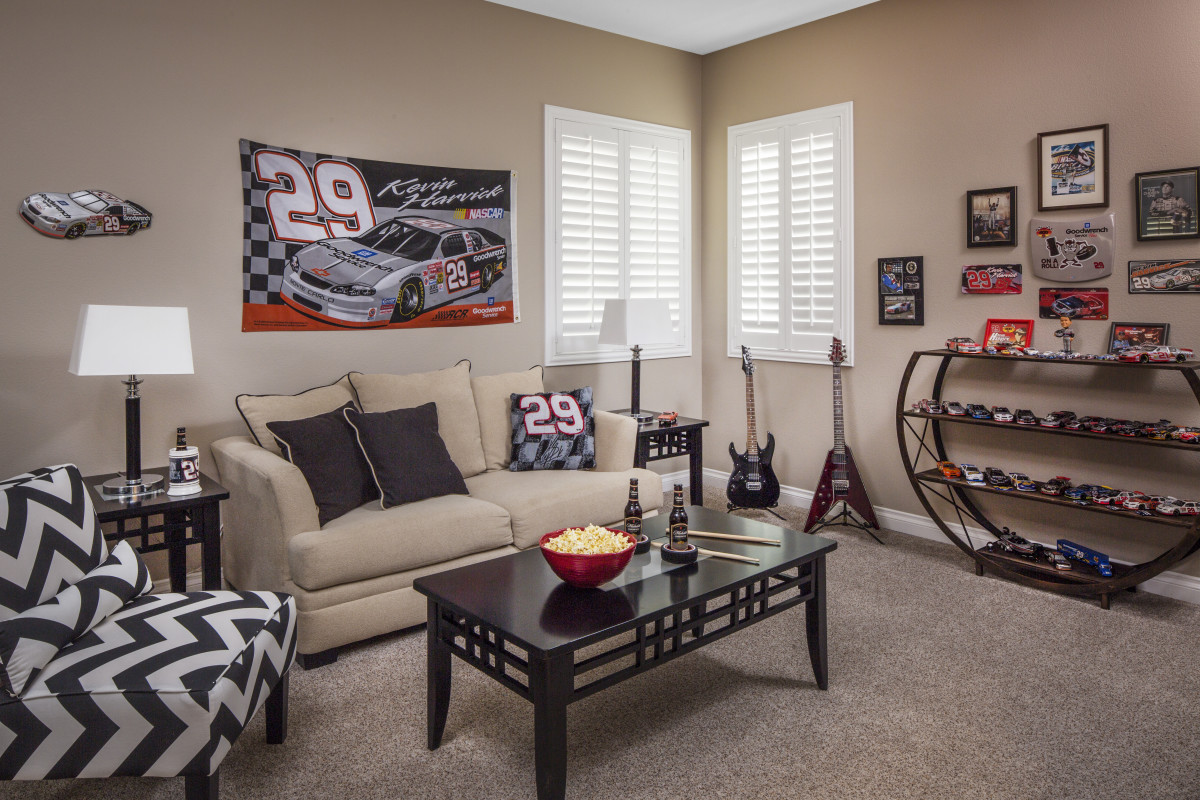 San Diego man cave with shutters