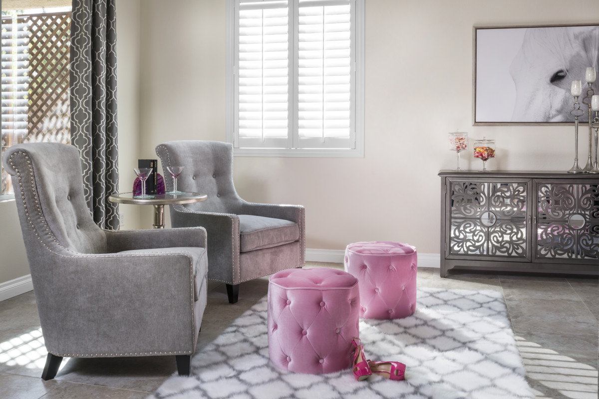 San Diego pink living room with shutters