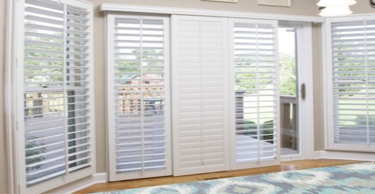 [Polywood|Plantation|Interior ]211] shutters on a sliding glass door in San Diego