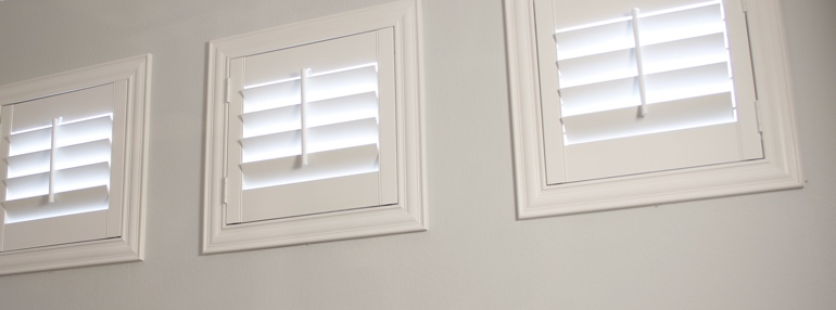 Small Windows in a San Diego Garage with Plantation Shutters