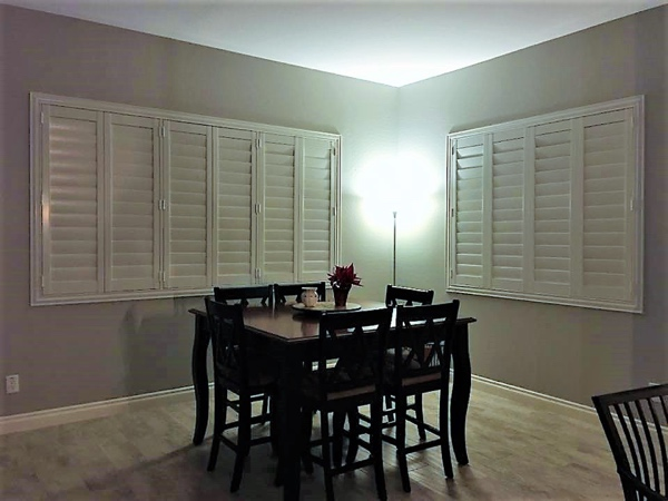 closed shutters in dining room