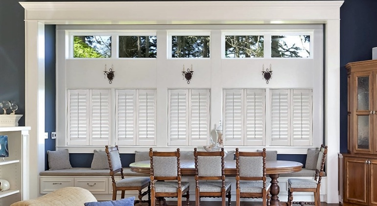 San Diego great room with shut plantation shutters.
