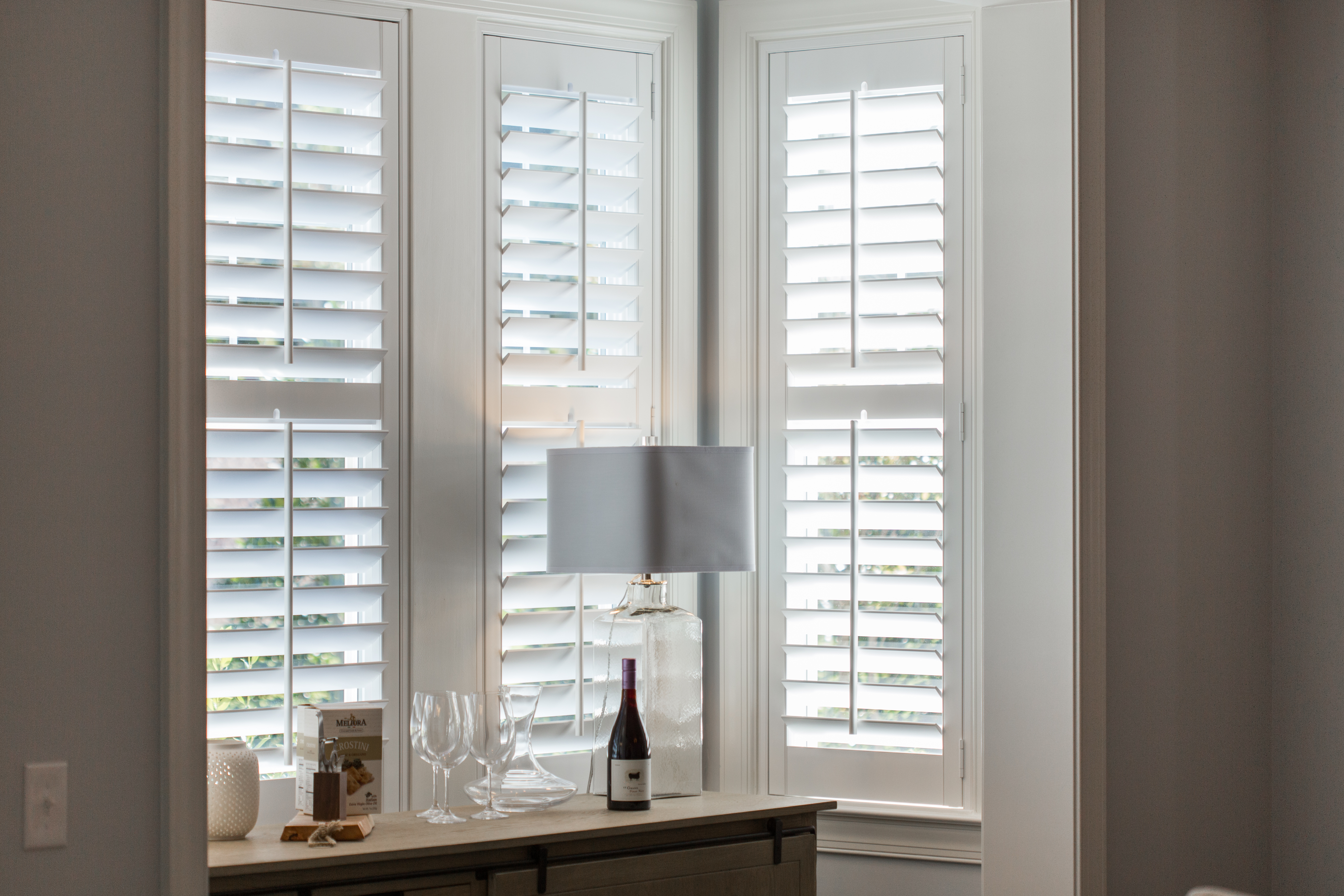 Polywood shutters in San Diego alcove.