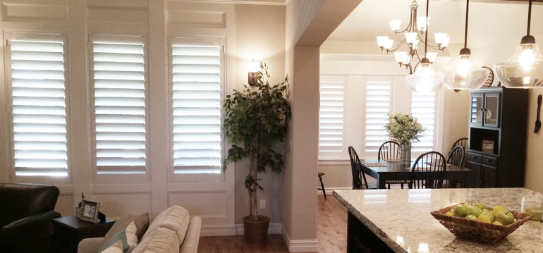 San Diego shutters in kitchen and great room