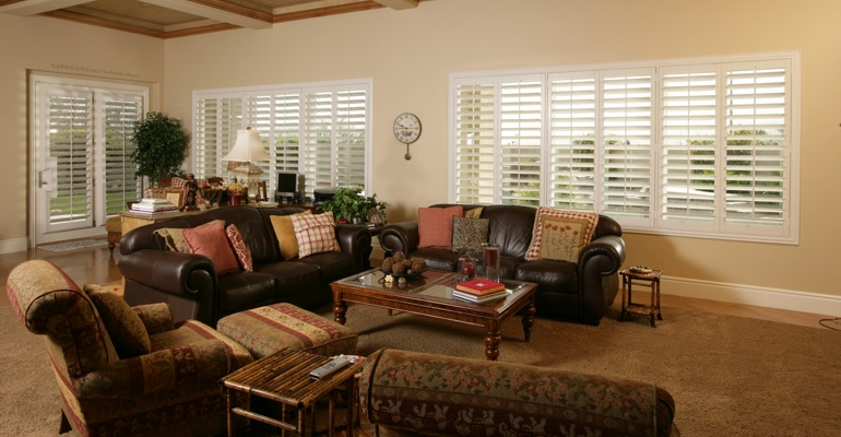 San Diego family room with white shutters.