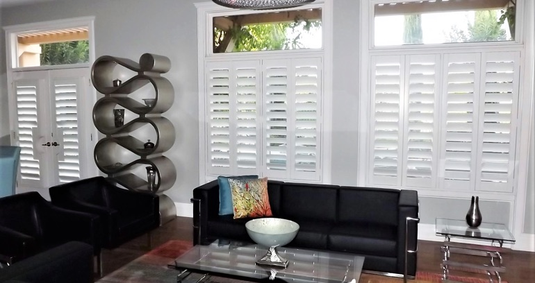 San Diego DIY shutters in living room.
