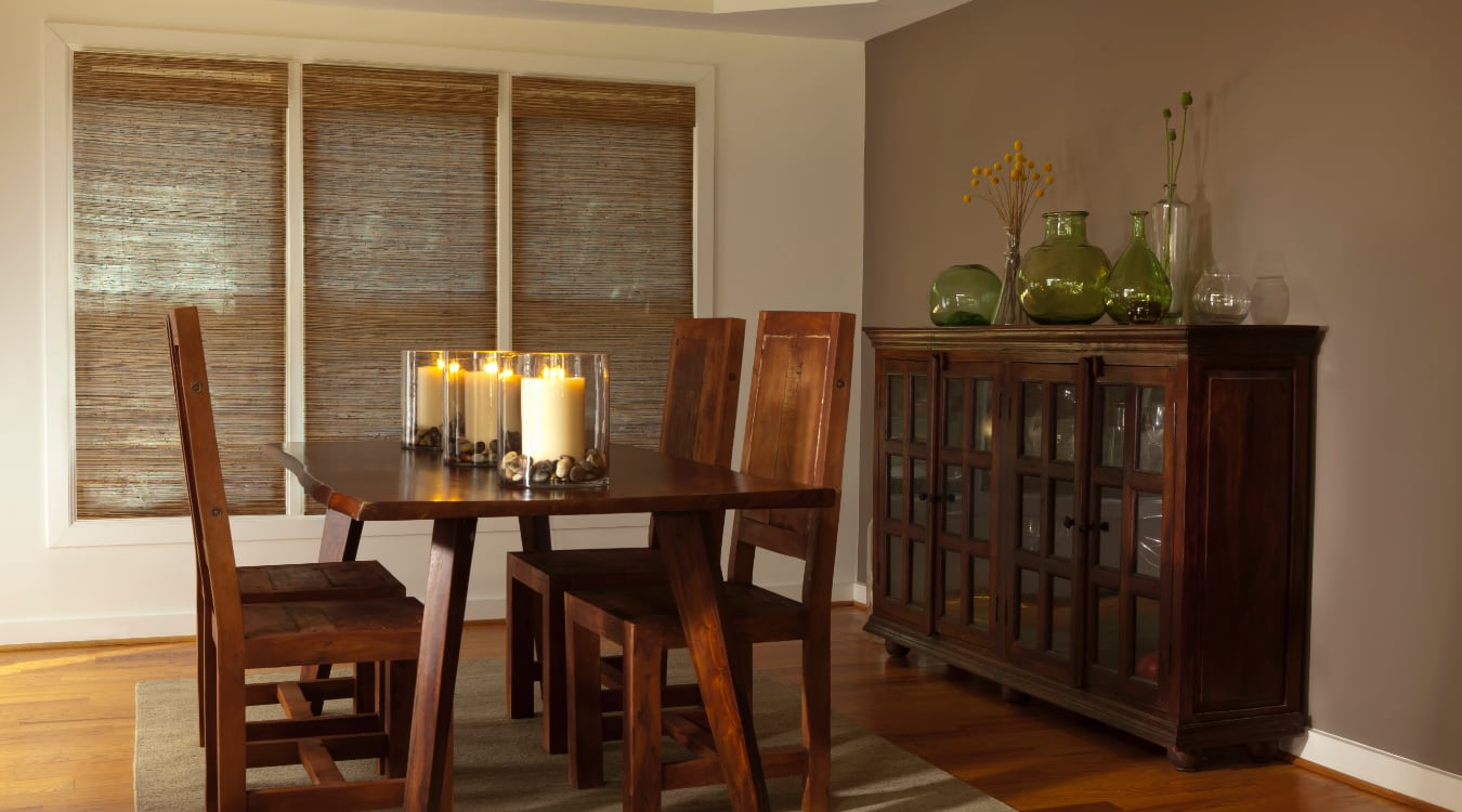 Woven shutters in a San Diego dining room.