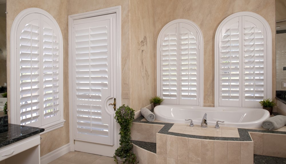 Arched Shutters In A San Diego Bathroom