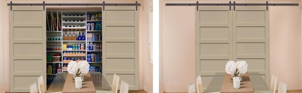 Sliding barn doors covering pantry