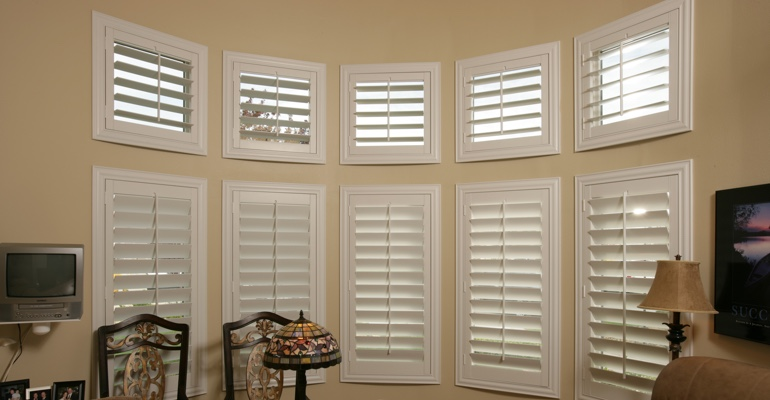 Bay window shutters San Diego home office