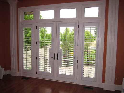 San Diego patio door with sidelight shutters