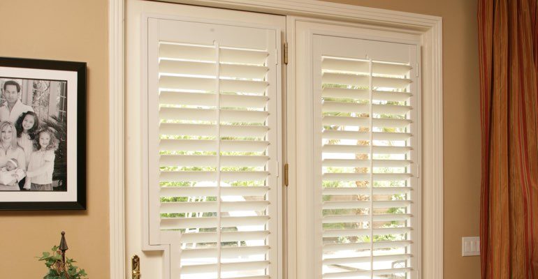 San Diego french door white shutters