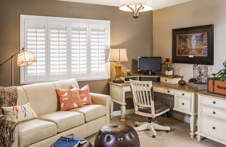 San Diego home office with plantation window shutters.