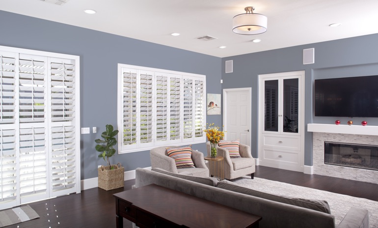 Plantation Shutters In A San Diego Living Room.