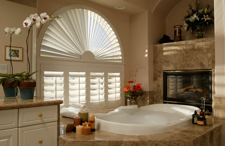 Our Specialists Installed Shutters On A Sunburst Arch Window In San Diego, CA